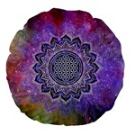 Flower Of Life Indian Ornaments Mandala Universe Large 18  Premium Round Cushions Front