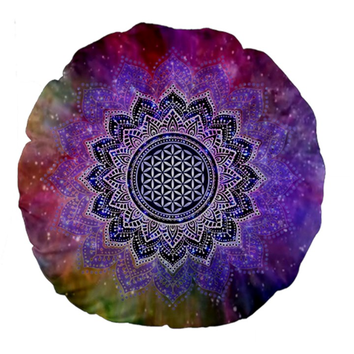 Flower Of Life Indian Ornaments Mandala Universe Large 18  Premium Round Cushions