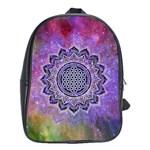 Flower Of Life Indian Ornaments Mandala Universe School Bags (XL)  Front