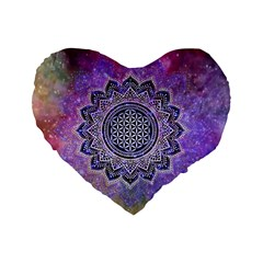 Flower Of Life Indian Ornaments Mandala Universe Standard 16  Premium Heart Shape Cushions by EDDArt
