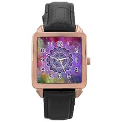 Flower Of Life Indian Ornaments Mandala Universe Rose Gold Leather Watch  by EDDArt
