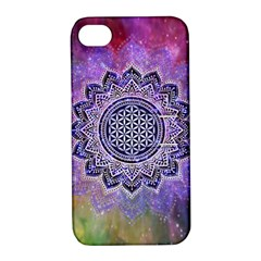 Flower Of Life Indian Ornaments Mandala Universe Apple Iphone 4/4s Hardshell Case With Stand by EDDArt