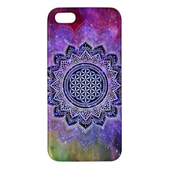 Flower Of Life Indian Ornaments Mandala Universe Apple Iphone 5 Premium Hardshell Case by EDDArt