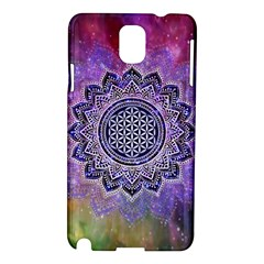 Flower Of Life Indian Ornaments Mandala Universe Samsung Galaxy Note 3 N9005 Hardshell Case by EDDArt