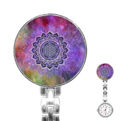 Flower Of Life Indian Ornaments Mandala Universe Stainless Steel Nurses Watch by EDDArt
