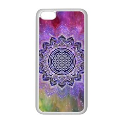 Flower Of Life Indian Ornaments Mandala Universe Apple Iphone 5c Seamless Case (white) by EDDArt
