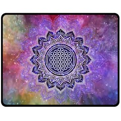Flower Of Life Indian Ornaments Mandala Universe Double Sided Fleece Blanket (medium)  by EDDArt