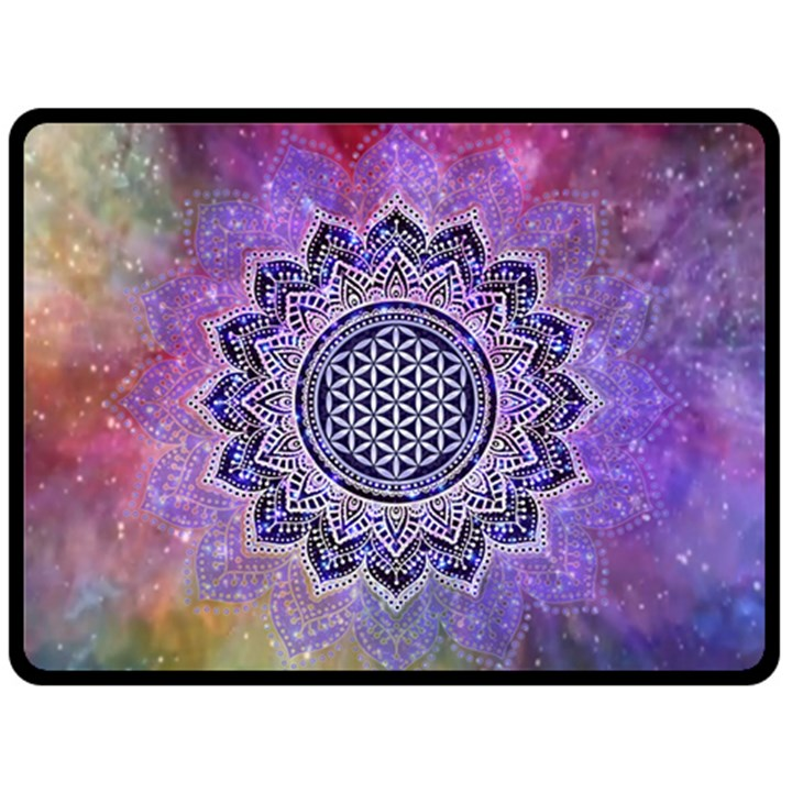Flower Of Life Indian Ornaments Mandala Universe Double Sided Fleece Blanket (Large)