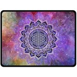 Flower Of Life Indian Ornaments Mandala Universe Double Sided Fleece Blanket (Large)  80 x60 Blanket Back