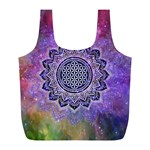 Flower Of Life Indian Ornaments Mandala Universe Full Print Recycle Bags (L)  Front