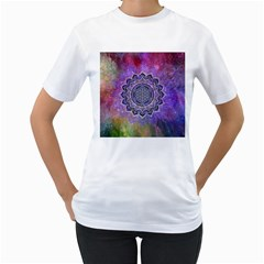 Flower Of Life Indian Ornaments Mandala Universe Women s T Shirt (white)
