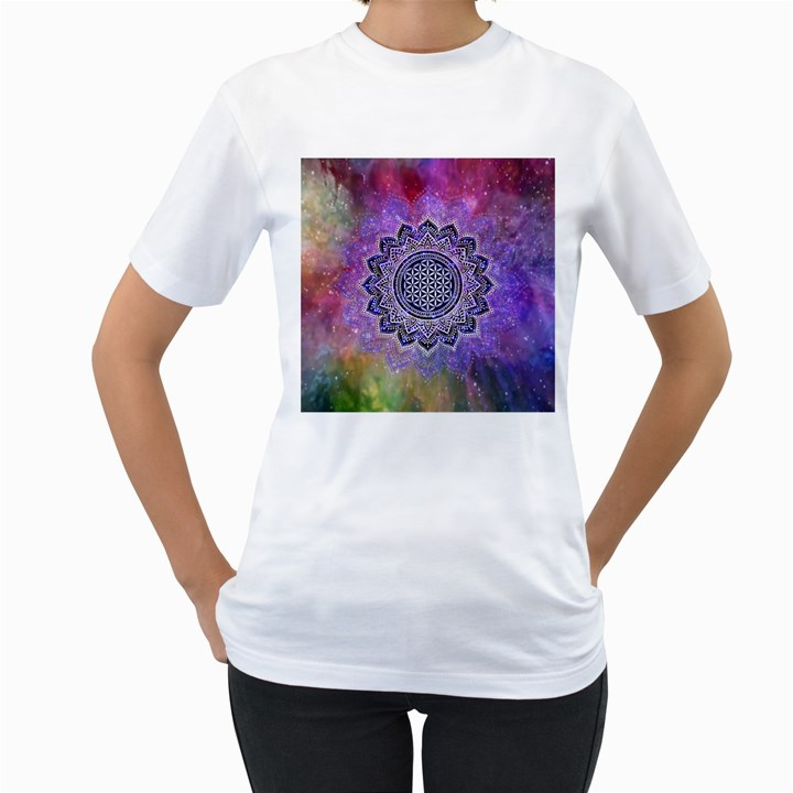 Flower Of Life Indian Ornaments Mandala Universe Women s T-Shirt (White)