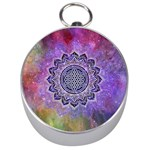 Flower Of Life Indian Ornaments Mandala Universe Silver Compasses Front