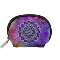 Flower Of Life Indian Ornaments Mandala Universe Accessory Pouches (small)