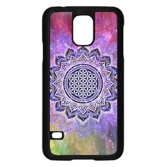 Flower Of Life Indian Ornaments Mandala Universe Samsung Galaxy S5 Case (black) by EDDArt