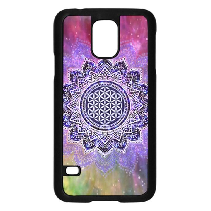 Flower Of Life Indian Ornaments Mandala Universe Samsung Galaxy S5 Case (Black)