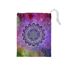 Flower Of Life Indian Ornaments Mandala Universe Drawstring Pouches (medium)  by EDDArt