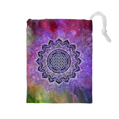 Flower Of Life Indian Ornaments Mandala Universe Drawstring Pouches (large)  by EDDArt