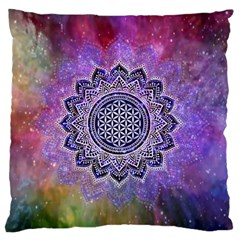 Flower Of Life Indian Ornaments Mandala Universe Large Flano Cushion Case (one Side) by EDDArt