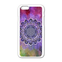 Flower Of Life Indian Ornaments Mandala Universe Apple Iphone 6/6s White Enamel Case by EDDArt