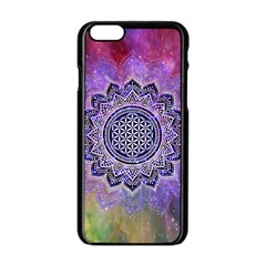 Flower Of Life Indian Ornaments Mandala Universe Apple Iphone 6/6s Black Enamel Case