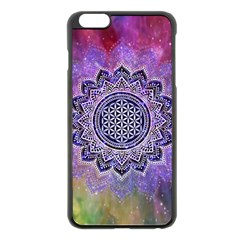 Flower Of Life Indian Ornaments Mandala Universe Apple Iphone 6 Plus/6s Plus Black Enamel Case by EDDArt