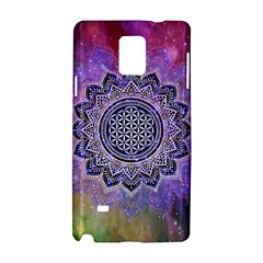 Flower Of Life Indian Ornaments Mandala Universe Samsung Galaxy Note 4 Hardshell Case by EDDArt