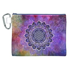 Flower Of Life Indian Ornaments Mandala Universe Canvas Cosmetic Bag (xxl) by EDDArt