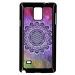 Flower Of Life Indian Ornaments Mandala Universe Samsung Galaxy Note 4 Case (Black) Front
