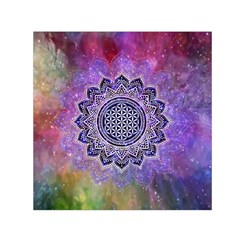 Flower Of Life Indian Ornaments Mandala Universe Small Satin Scarf (square) by EDDArt