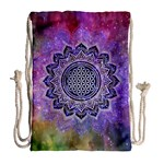 Flower Of Life Indian Ornaments Mandala Universe Drawstring Bag (Large) Back