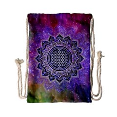 Flower Of Life Indian Ornaments Mandala Universe Drawstring Bag (small) by EDDArt