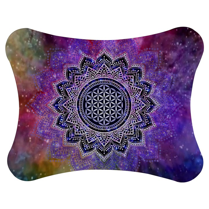 Flower Of Life Indian Ornaments Mandala Universe Jigsaw Puzzle Photo Stand (Bow)