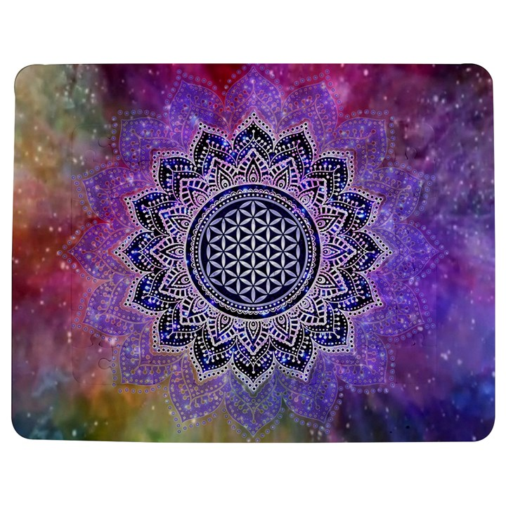 Flower Of Life Indian Ornaments Mandala Universe Jigsaw Puzzle Photo Stand (Rectangular)