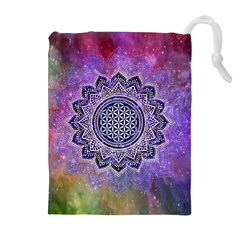 Flower Of Life Indian Ornaments Mandala Universe Drawstring Pouches (extra Large) by EDDArt