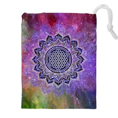 Flower Of Life Indian Ornaments Mandala Universe Drawstring Pouches (xxl) by EDDArt