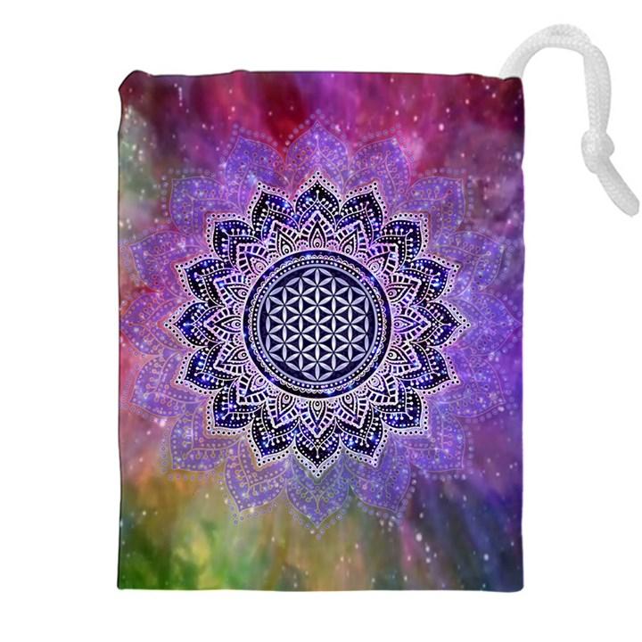 Flower Of Life Indian Ornaments Mandala Universe Drawstring Pouches (XXL)