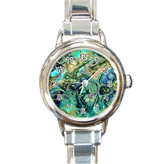 Fractal Batik Art Teal Turquoise Salmon Round Italian Charm Watch by EDDArt