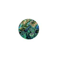 Fractal Batik Art Teal Turquoise Salmon 1  Mini Magnets