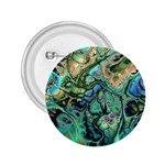 Fractal Batik Art Teal Turquoise Salmon 2.25  Buttons
