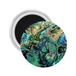 Fractal Batik Art Teal Turquoise Salmon 2.25  Magnets