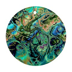 Fractal Batik Art Teal Turquoise Salmon Ornament (round)  by EDDArt