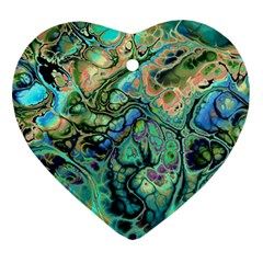 Fractal Batik Art Teal Turquoise Salmon Ornament (heart)  by EDDArt