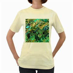 Fractal Batik Art Teal Turquoise Salmon Women s Yellow T Shirt by EDDArt