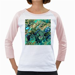 Fractal Batik Art Teal Turquoise Salmon Girly Raglans
