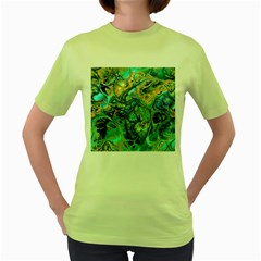 Fractal Batik Art Teal Turquoise Salmon Women s Green T Shirt by EDDArt