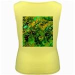 Fractal Batik Art Teal Turquoise Salmon Women s Yellow Tank Top Back