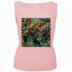 Fractal Batik Art Teal Turquoise Salmon Women s Pink Tank Top by EDDArt