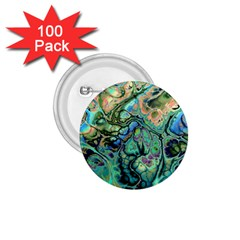 Fractal Batik Art Teal Turquoise Salmon 1 75  Buttons (100 Pack)