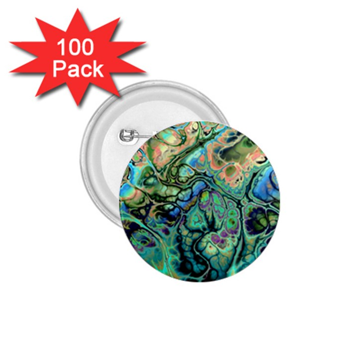 Fractal Batik Art Teal Turquoise Salmon 1.75  Buttons (100 pack)